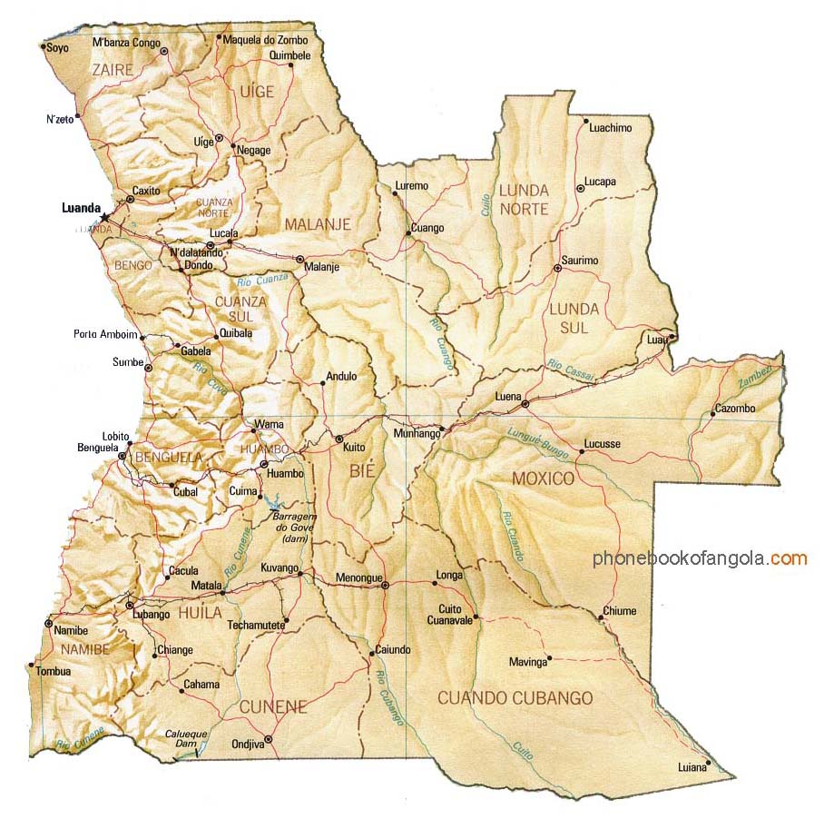 Map of Angola by Phone Book of the World.com Map Of Angola on map of armenia, map of ghana, map of lesotho, map of southern europe, map of argentina, map of africa, map of albania, map of namibia, map of philippines, map of zambia, map of mozambique, map of burkina faso, map of bolivia, map of chile, map of african countries, map of botswana, map of madagascar, map of djibouti, map of latvia, map of spain,