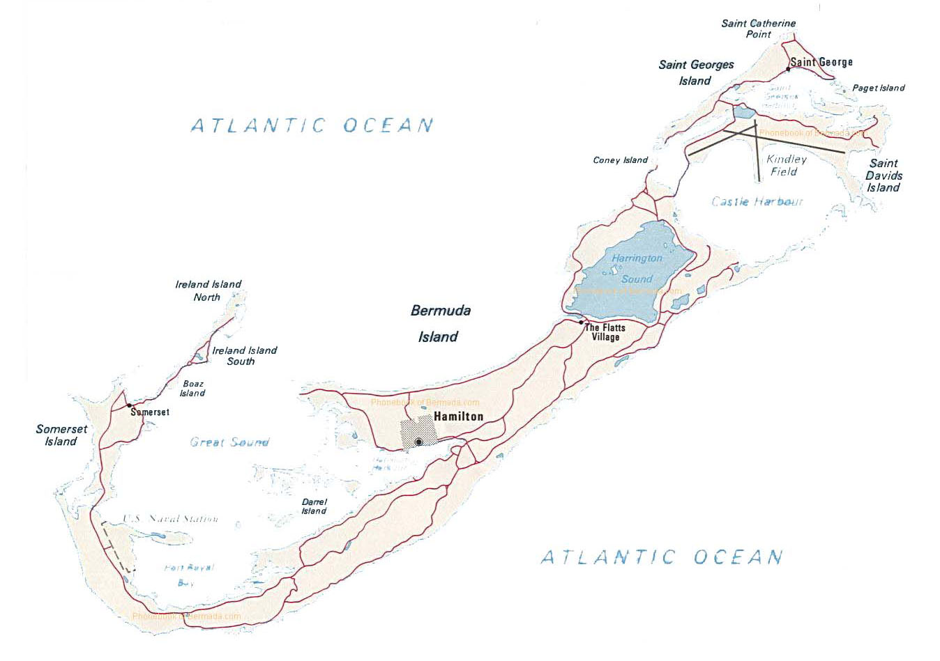 Map of Bermuda by Phonebook of