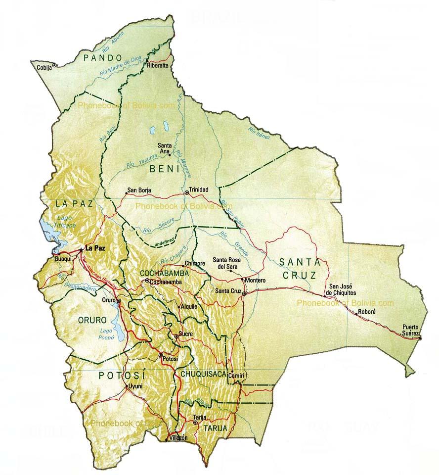 Map Of Bolivia By Phonebook Of Boliviacom - Map of bolivia