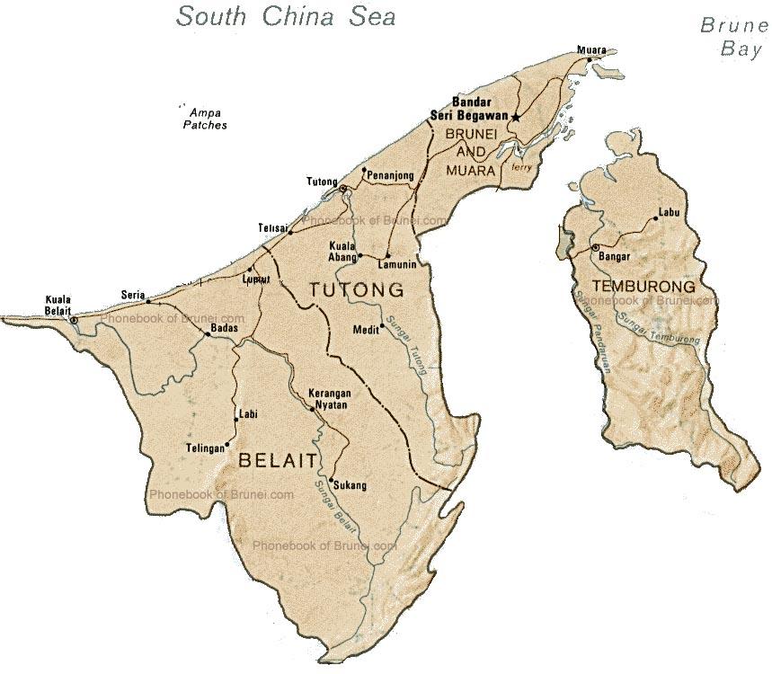 Map Of Brunei By Phonebook Of Bruneicom - Brunei map