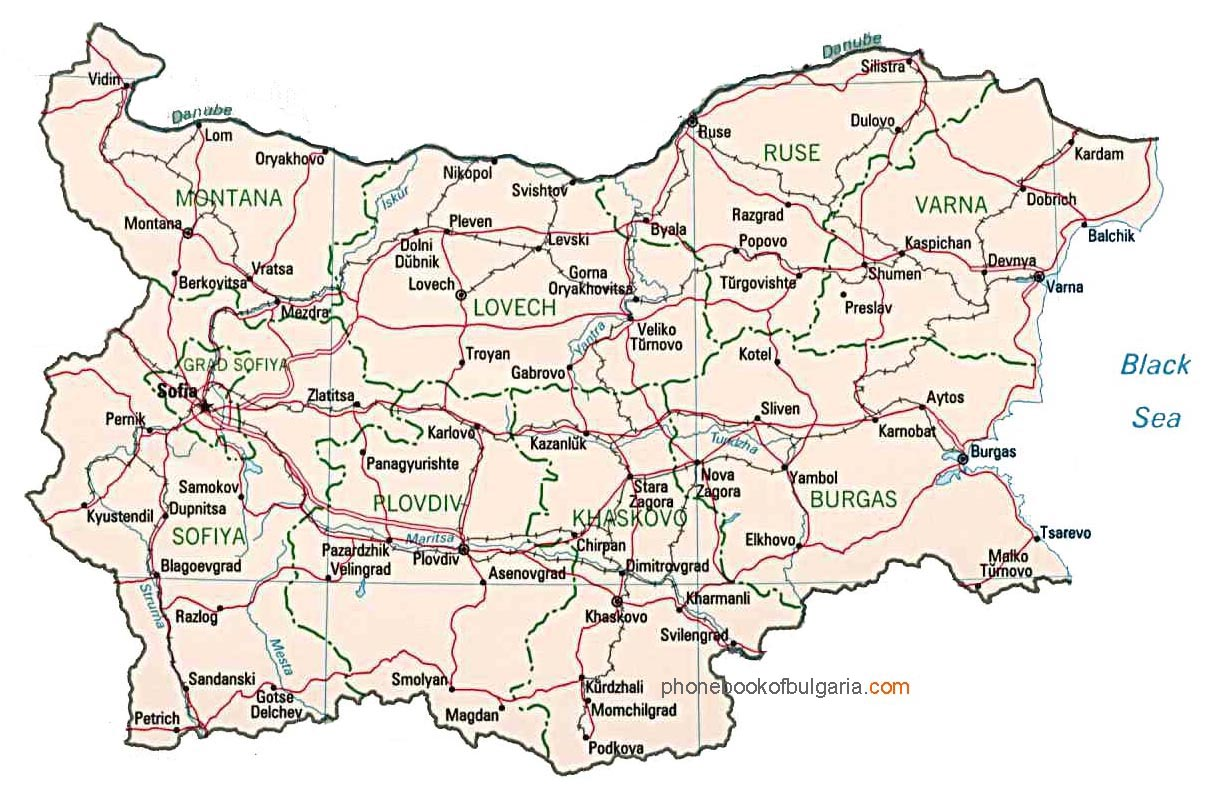 Map Of Bulgaria By Phonebook Of The Worldcom - Map of bulgaria