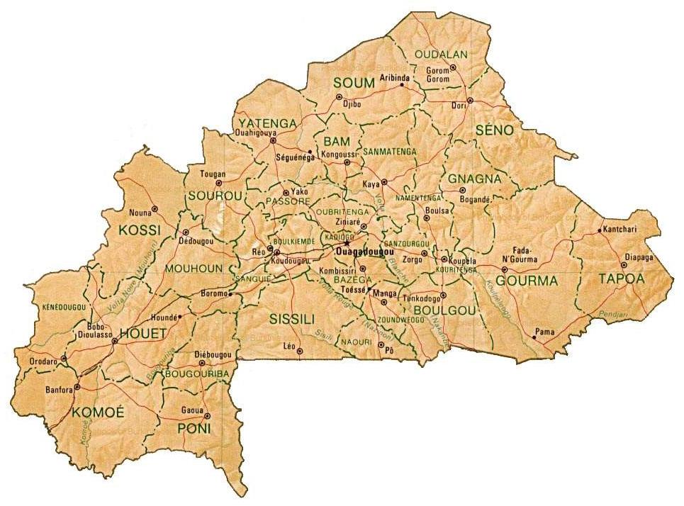 Map Of Burkina Faso By Phonebook Of Burkina Fasocom - Burkina faso map