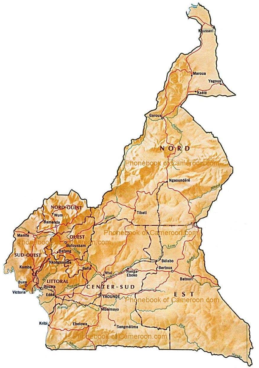 Map of Cameroon by Phone Book of the World.com