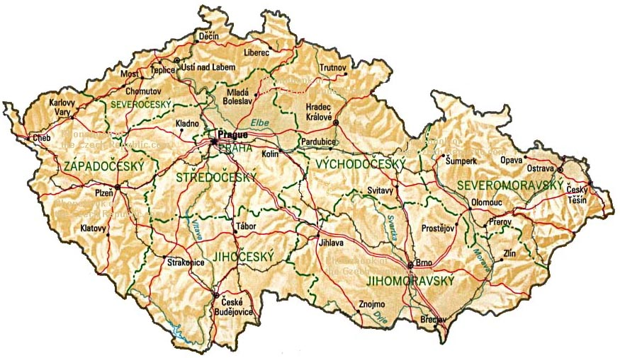 Map Of Czech Republic By Phonebook Of The Worldcom - Czech republic map