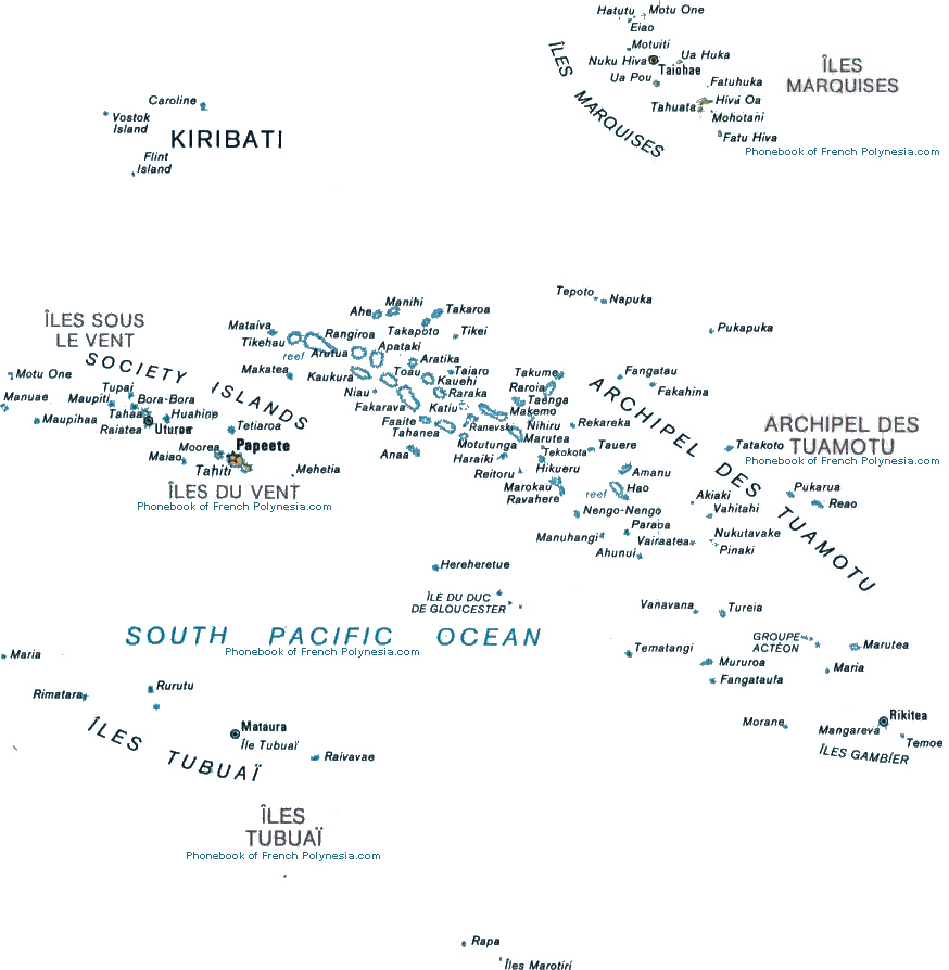 Map Of French Polynesia By Phonebook Of Singaporecom - French polynesia map