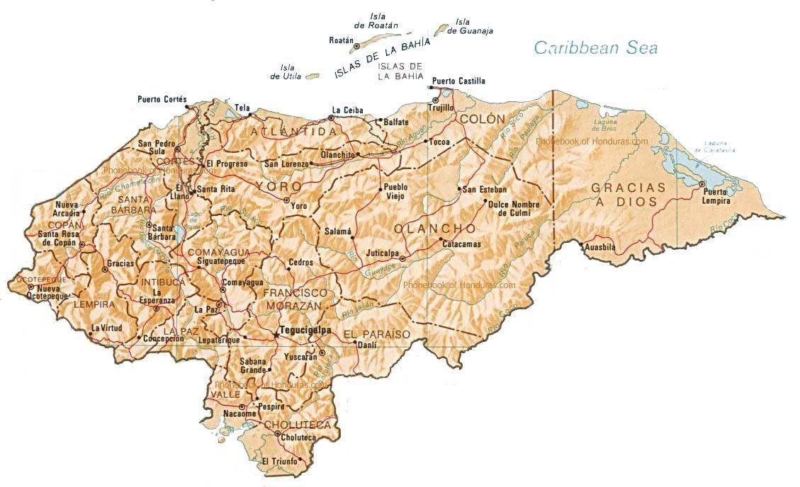 Map of Honduras by Phonebook of Honduras.com
