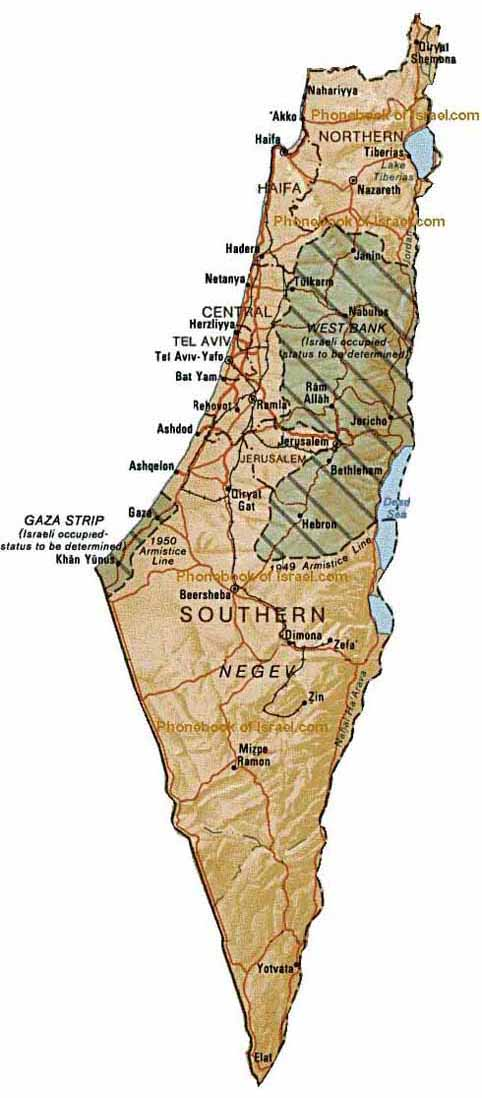 Map of Israel by Phonebook of the Worldcom