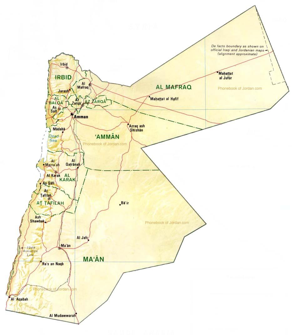 Map Of Jordan By Phonebook Of Jordancom - Map of jordan