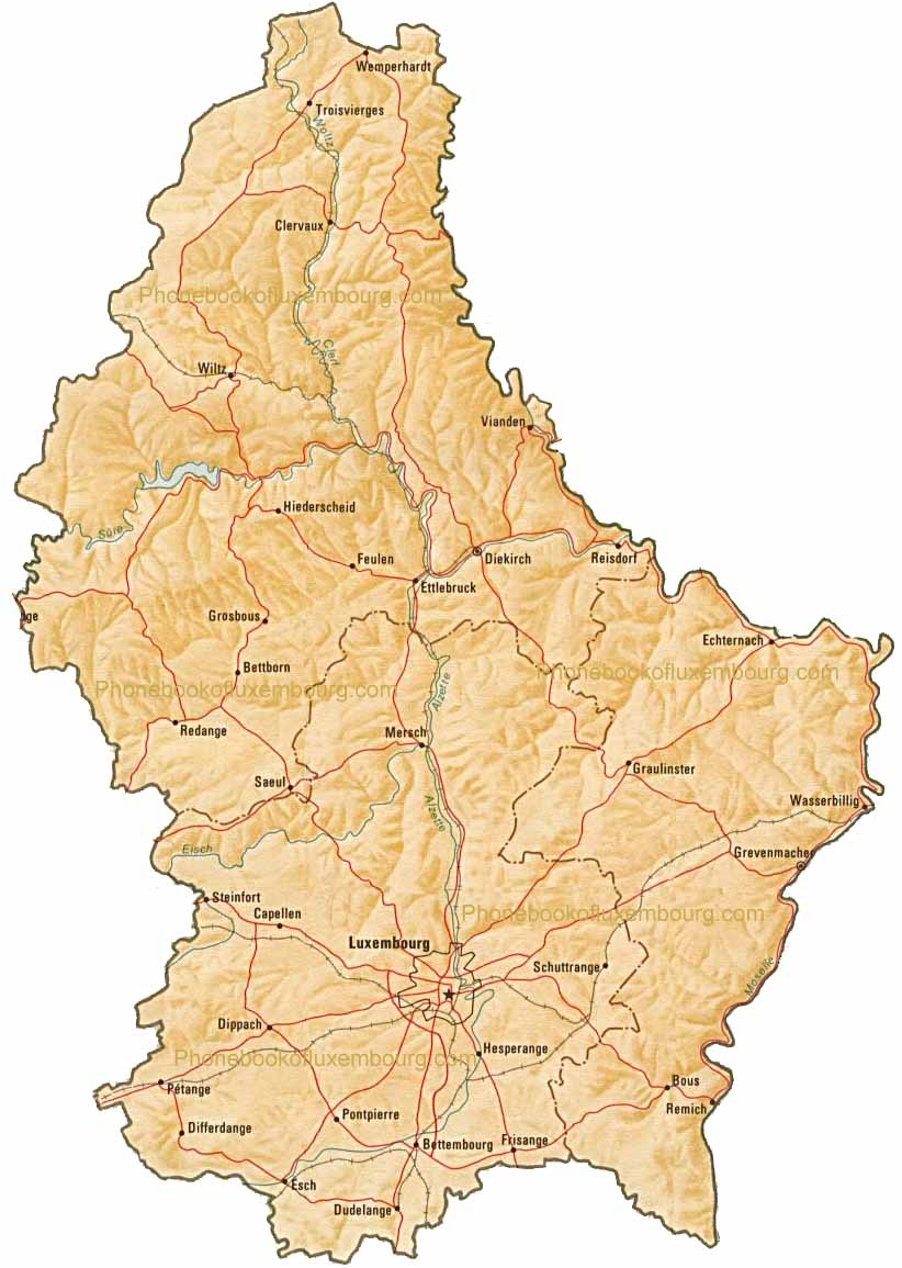 . map of luxembourg by phonebook of luxembourgcom