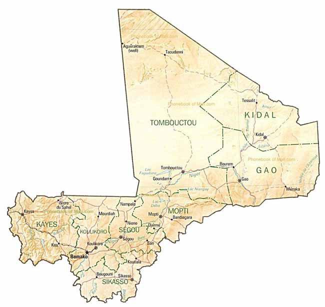 Map Of Mali By Phonebook Of Malicom - Mali map