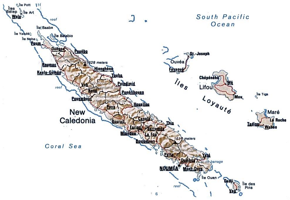 Map of New Caledonia by Phonebook of New Zealandcom