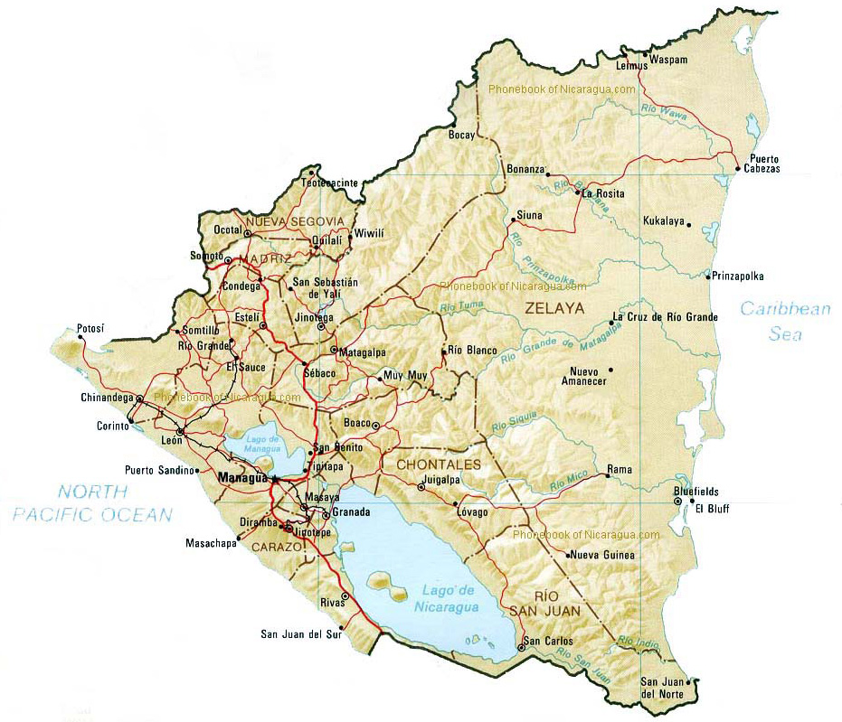 Map Of Nicaragua By Phonebook Of Nicaraguacom - Map of nicaragua