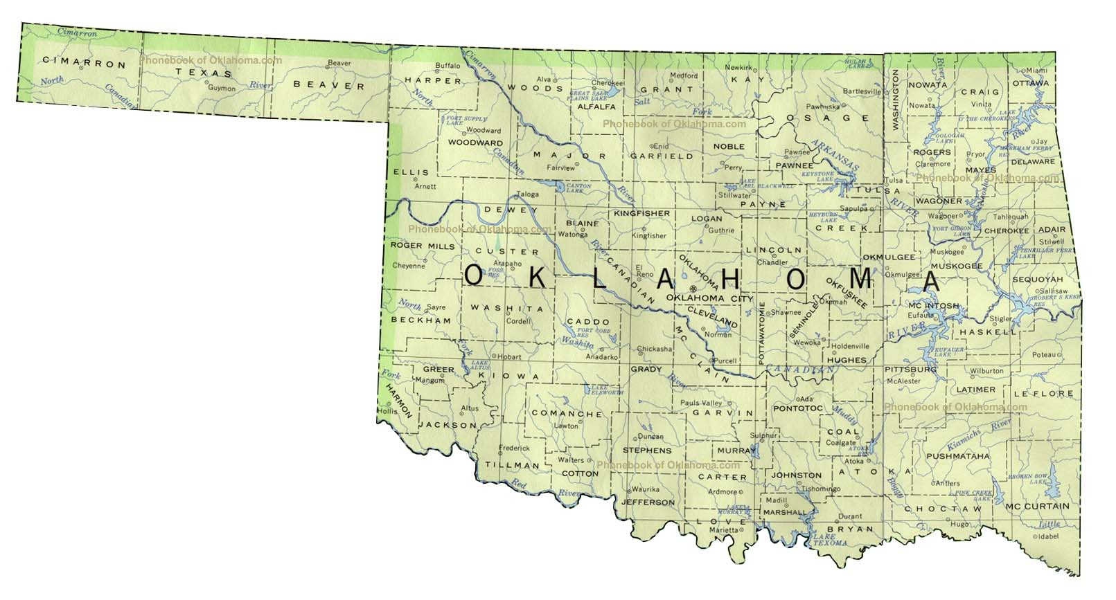 Map of Oklahoma by Phone Book of the World com