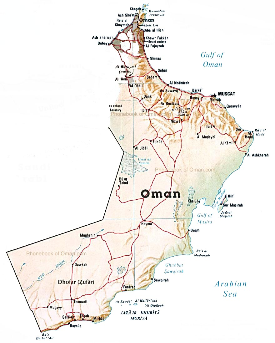 map of oman by phonebook of oman