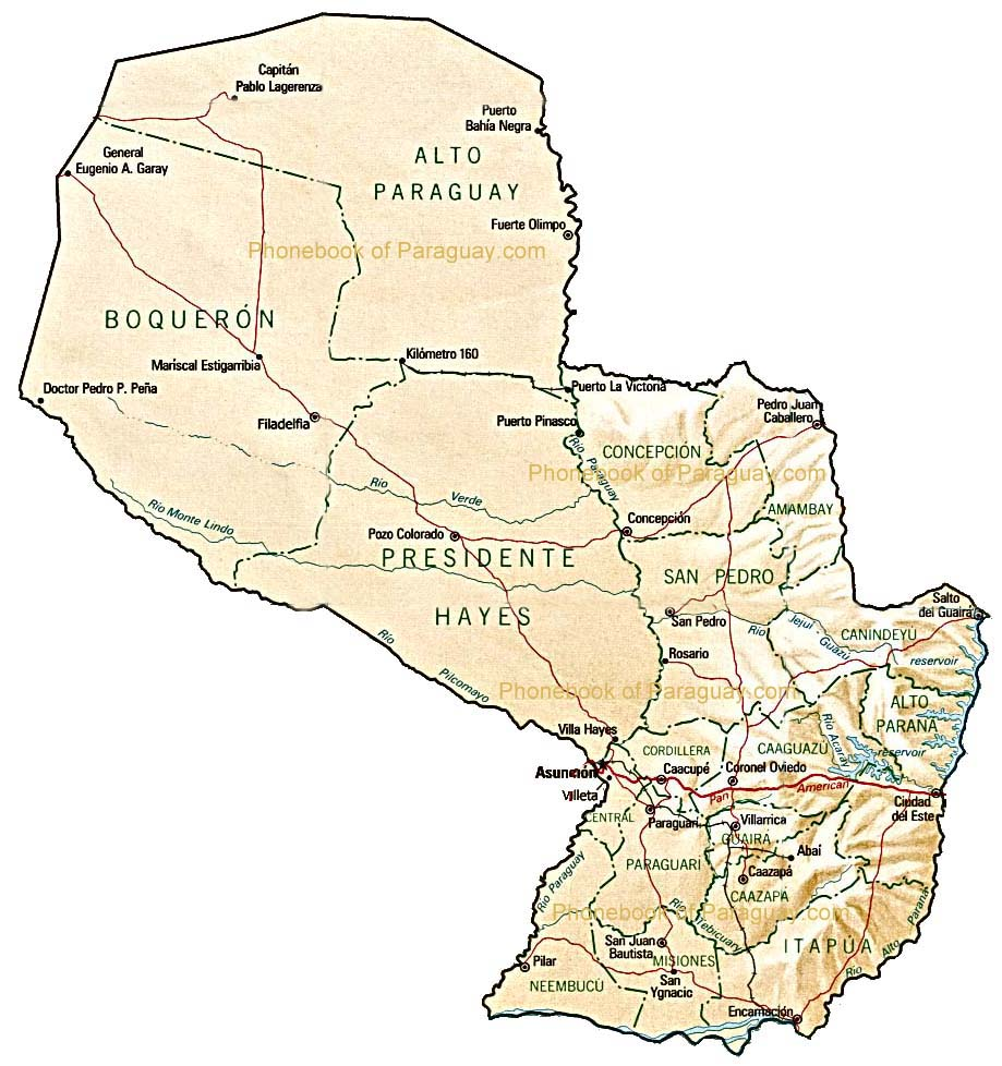 Map of Paraguay by Phonebook of the World.com