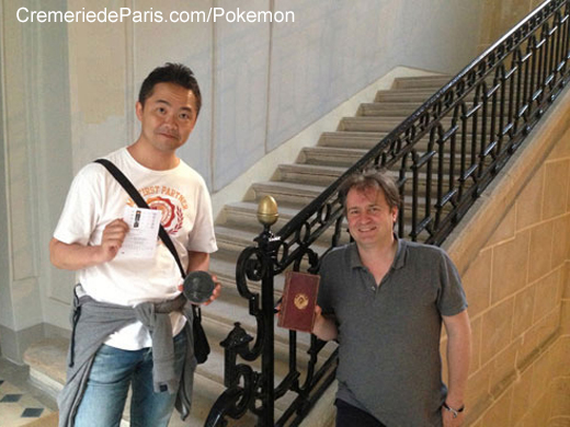 Junichi Masudo, coinventor of the Pokemon and Ben Solms, editor of the Phone Book of the World in the staircase of the  the Cremerie de Paris / Hotel de Villeroy