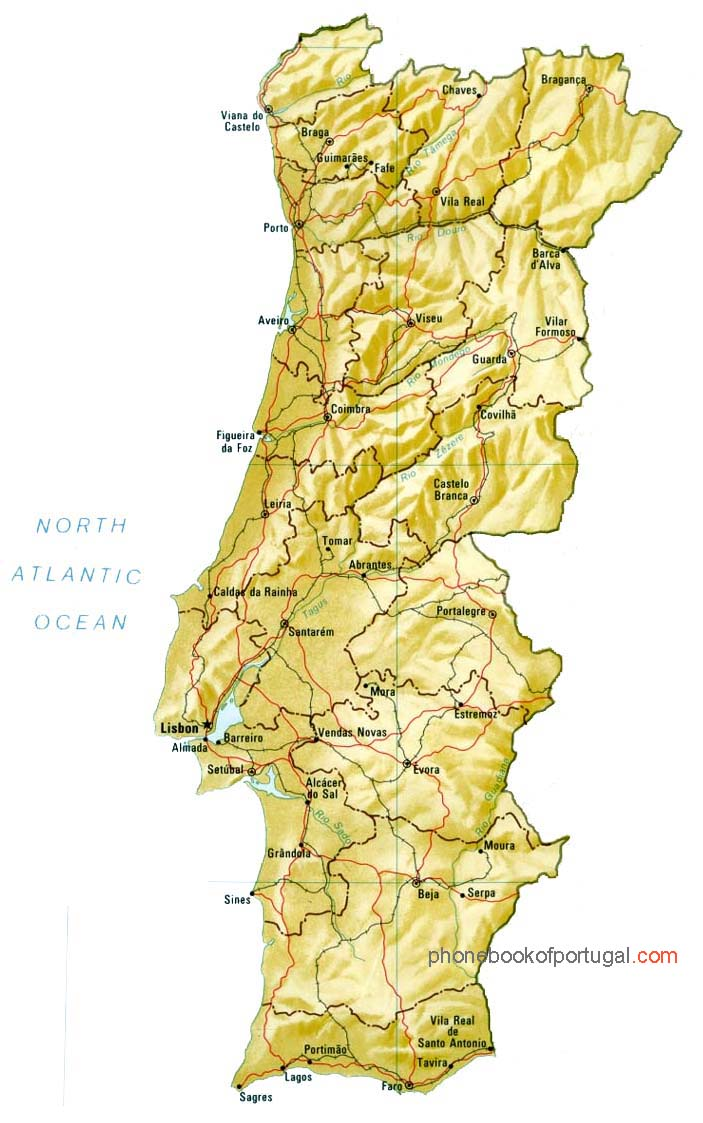 Map Of Portugal By Phonebook Of Portugalcom - Portugal beja map