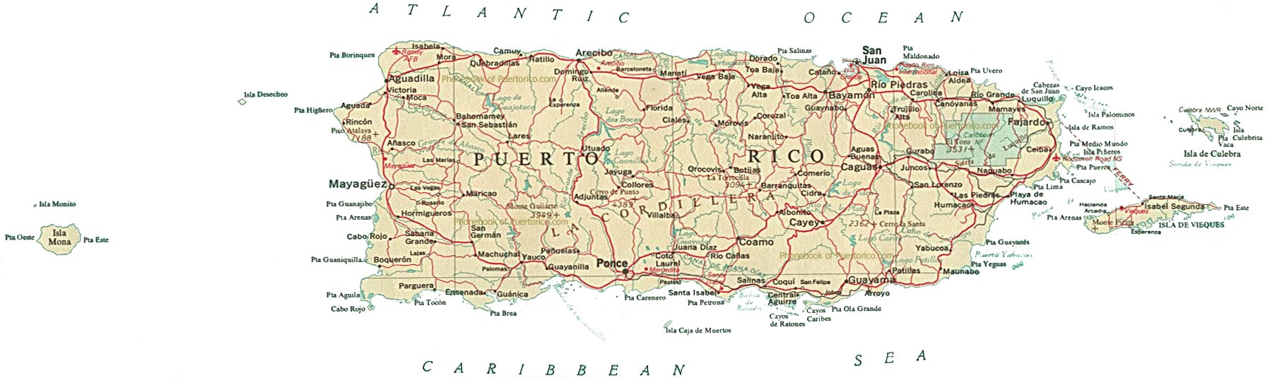 Map Of Puerto Rico By Phonebook Of Puerto Ricocom - Political map of puerto rico