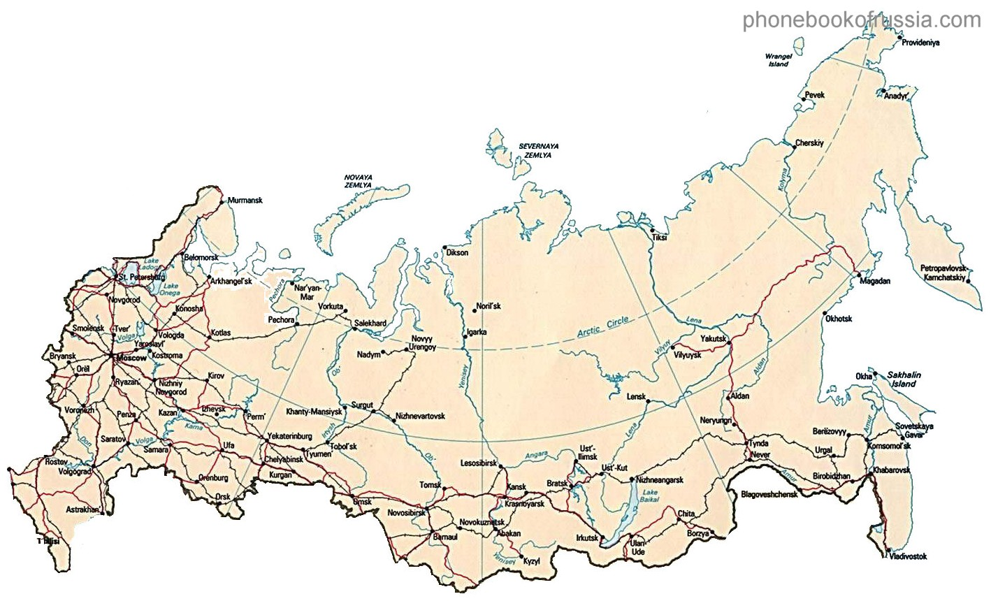 Map of Russia by Phonebook of Russiacom