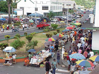 Market in Kingstown, capital and largest city of St Vincent and Grenadines (population 26 000 people)