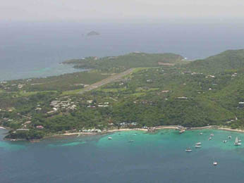 view on Mustique Island, the 2nd home of Princess Margaret (sister of Queen Elisabeth II)