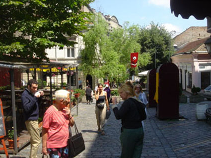 Pictures of Belgrade (the actress Marie France Lacoste walking through the old city center)