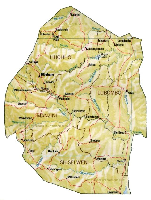 Map of Swaziland by Phonebook of Swazilandcom