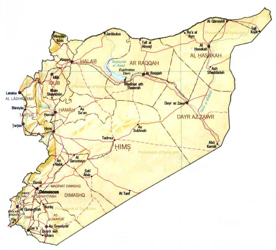 Map Of Syria By Phonebook Of Syriacom - Map of syria