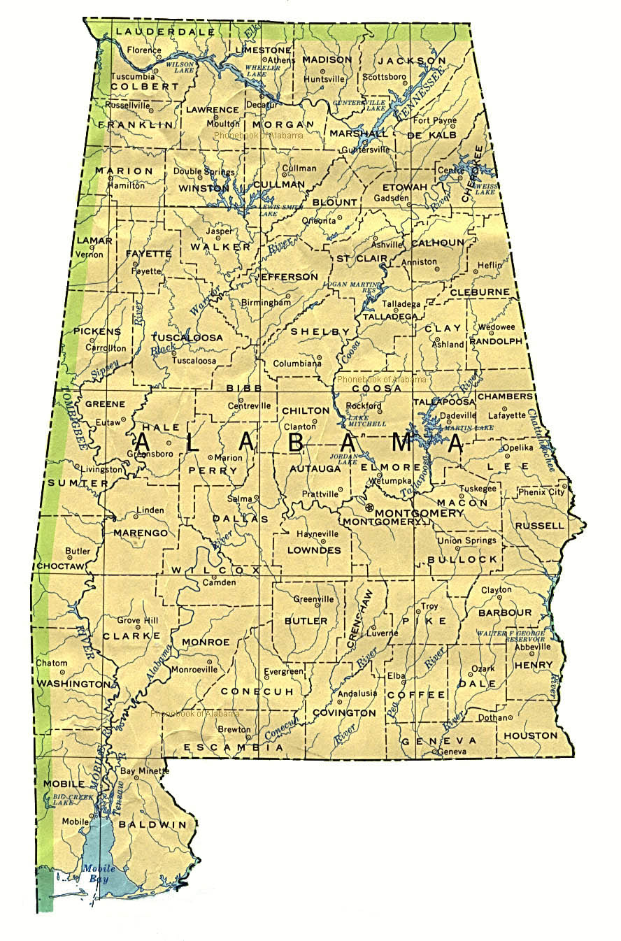 Reference Map Of Alabama USA Nations Online Project Alabama Map - Alabama map usa
