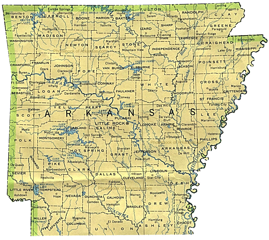 Map Of Arkansas By Phonebook Of Arkansascom - Arkansas usa map