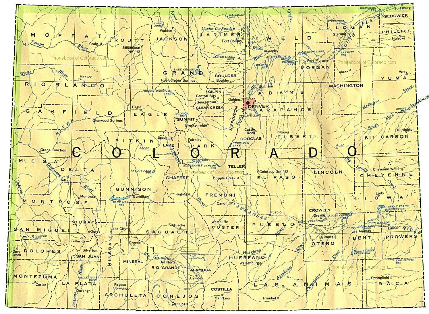 Map Of Colorado By Phonebook Of Colorado