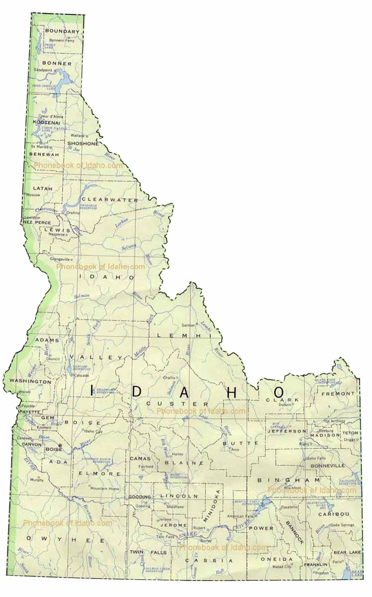 Map of Idaho by Phonebook of Idaho.com