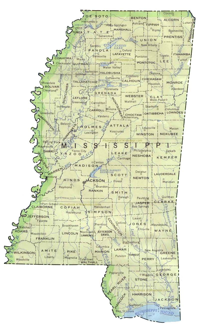 Map Of Mississippi By Phonebook Of Mississippicom - Map of mississippi