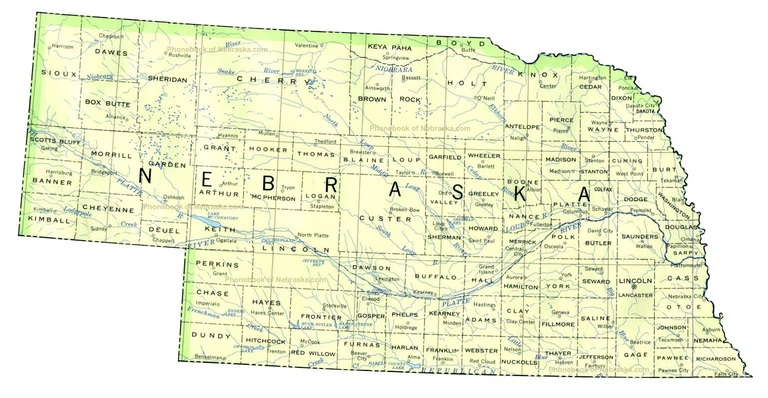 Map of Nebraska by Phonebook of Nebraska.com