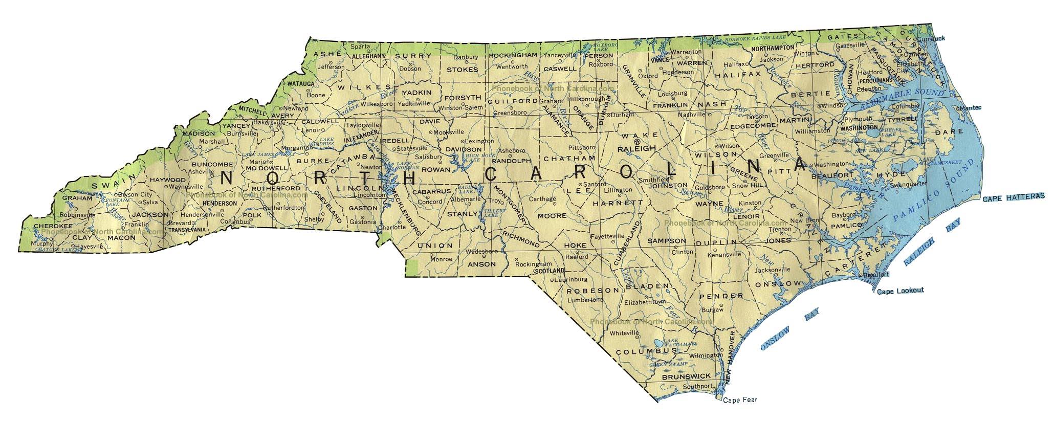 Map Of North Carolina By Phonebook Of North Carolina