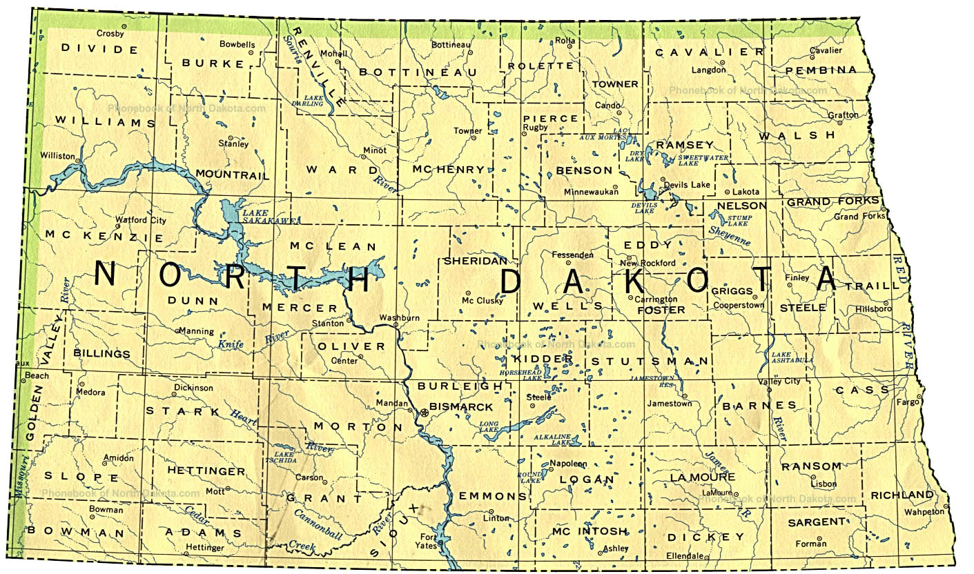 Map Of North Dakota By Phonebook Of North Dakota