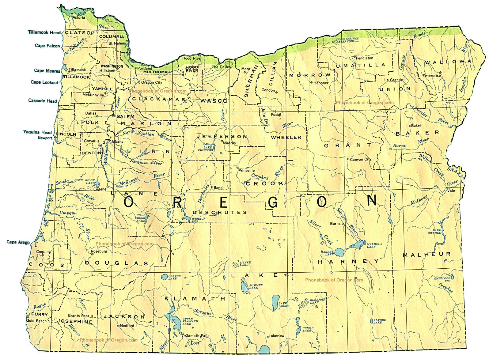 Map Of Oregon By Phonebook Of Oregoncom - Mapoforegon