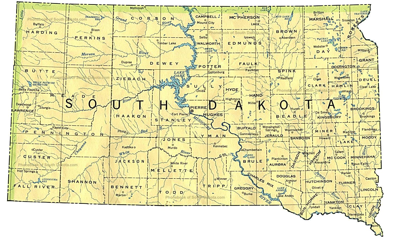 Map Of South Dakota By Phonebook Of South Dakotacom - Time zone map south dakota