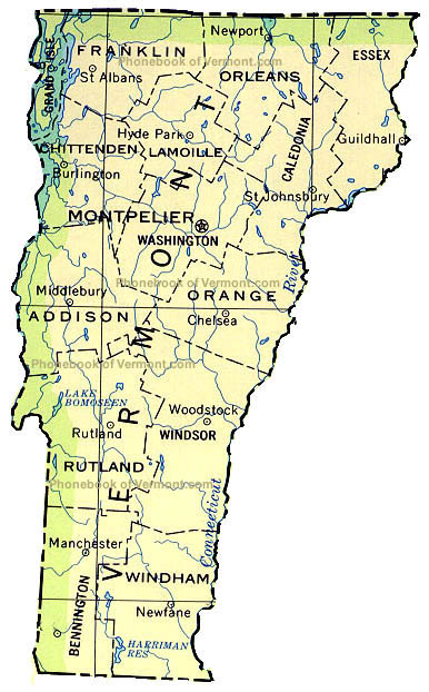 Map Of Vermont By Phonebook Of Vermontcom - Vermont in usa map