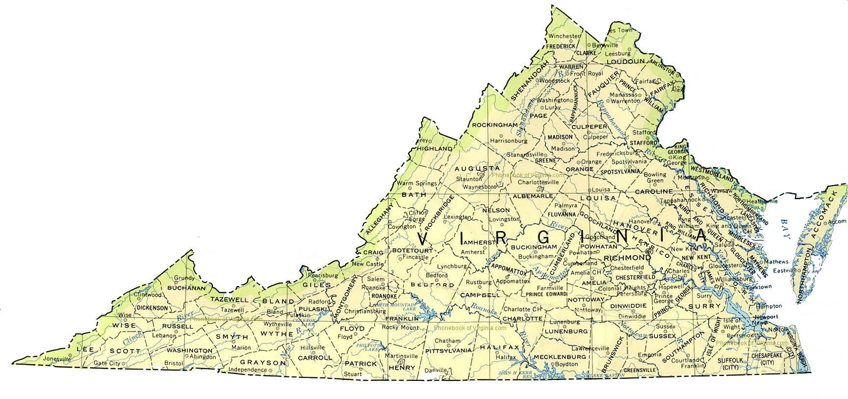 Map Of Virginia By Phonebook Of Virginia