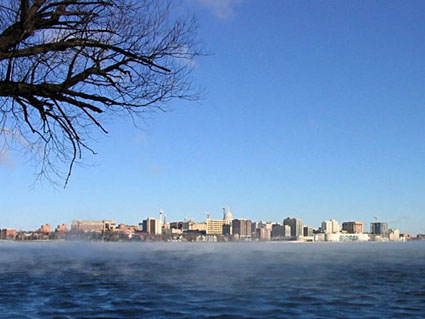 Pictures of Madison (Madison skyline with Capitol seen from Lake Monoa)