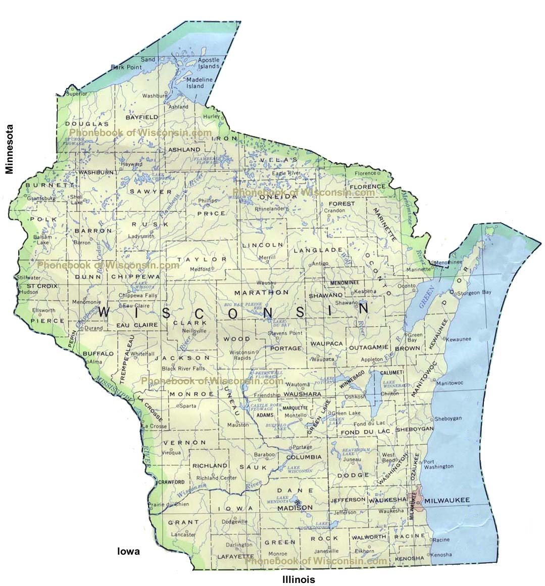 Map of Wisconsin by Phonebook of Wisconsincom