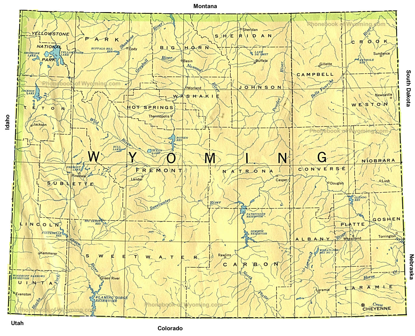 Map Of Wyoming By Phonebook Of Wyoming