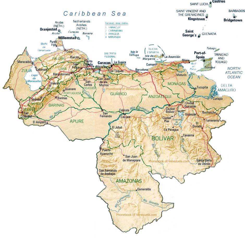 Map Of Venezuela By Phonebook Of Venezuelacom - Map of venezuela world