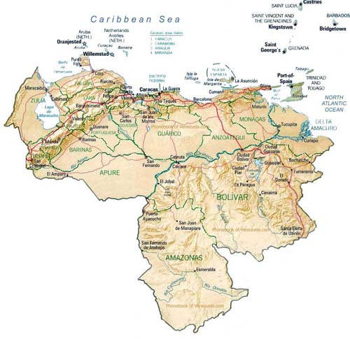 map of venezuela coast. map of Venezuela