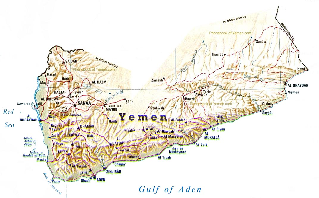 Map Of Yemen By Phonebook Of Yemencom - Map of yemen